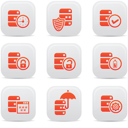Database,Data center, and Data storage icons,Orange version,vector Vector