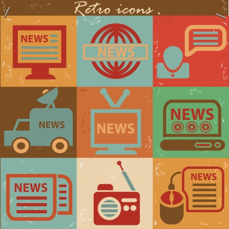 News icon set,Vintage style,vector Stock Vector - 22521676