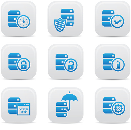 wireless lan: Database,Data center, and Data storage icons,blue version,vector