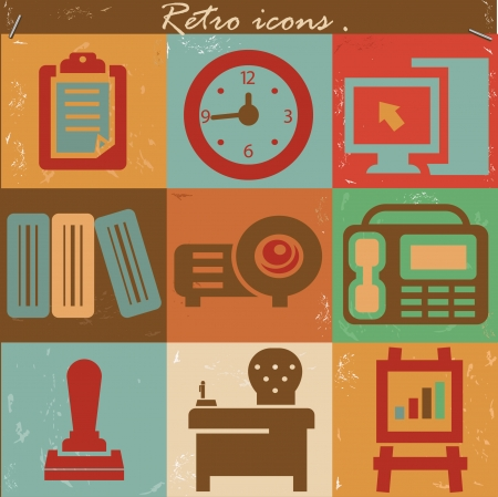 Office icons,vintage style,vector Vector