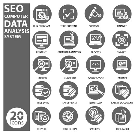 Seo,Data,Computer analysis icon set,vector Stock Vector - 22658349
