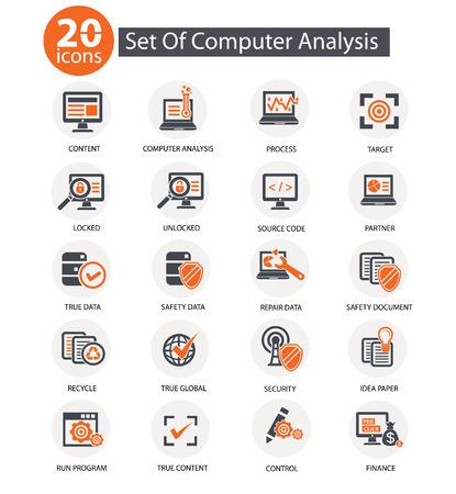 Computer analysis icons,orange style,vector