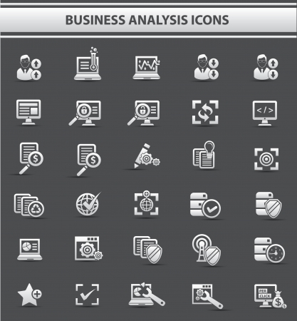 Computer analysis icons,gray style on white background,vector Stock Vector - 22658557