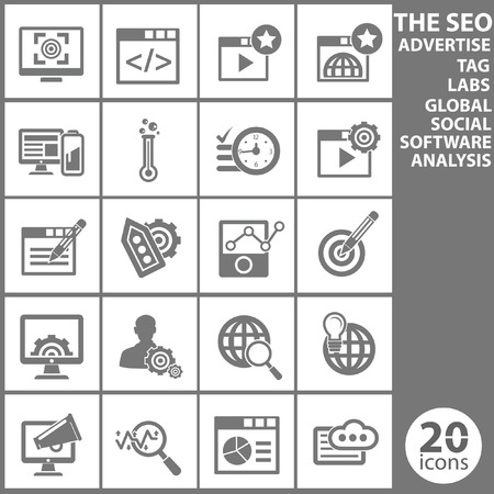 back link: The SEO, Computer analysis icon set,Gray version,vector
