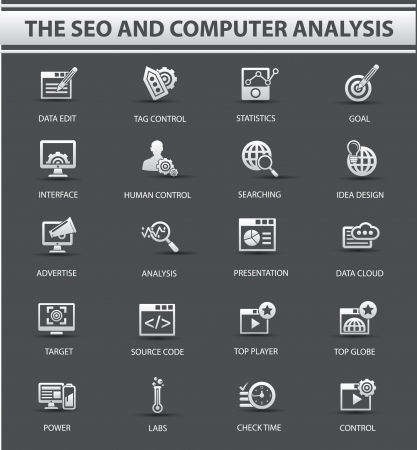 The SEO Computer analysis icon set,vector Illustration