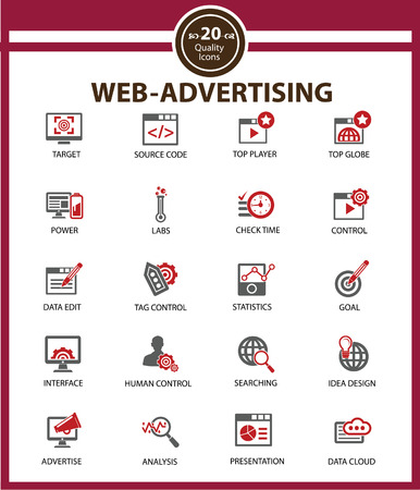 Web Advertising icon set,Red version,vector