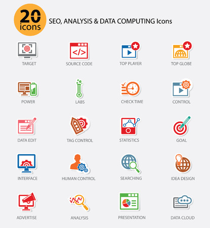 The SOE,Computer analysis icon set,Colorful version,vector  イラスト・ベクター素材