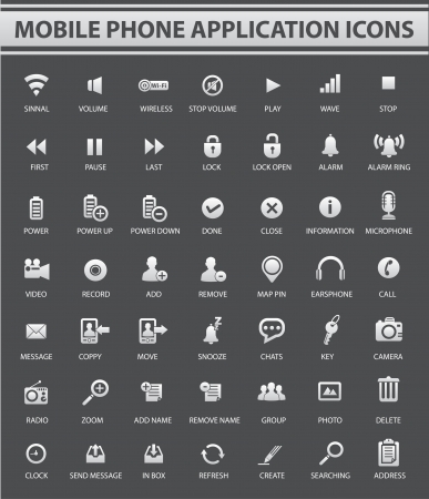 chat window: Mobile and Application icons on Gray background,vector