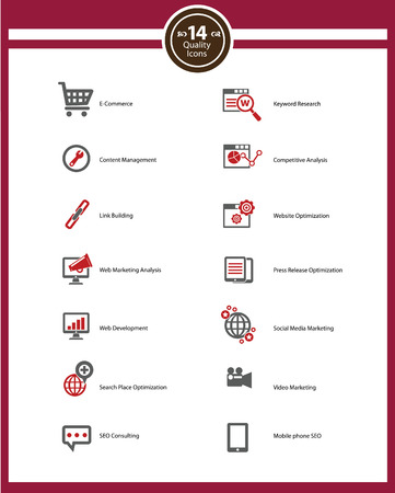 Seo icons,Red version on White background,vector Stock Vector - 22658674