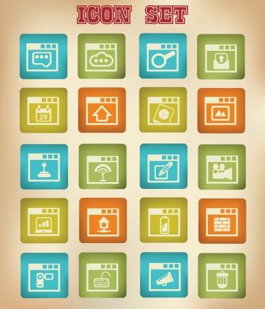web application: Web, le icone delle applicazioni, stile vintage, vettore