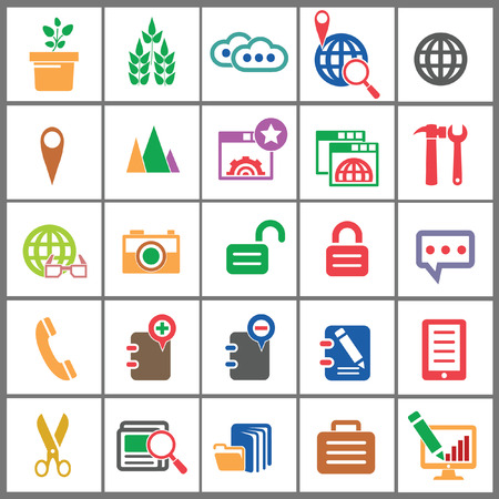 Modern Website   marketing icons,Colorful version,vector Stock Vector - 22658720