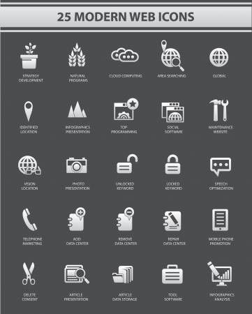 25 Modern Website   marketing icons,Gray version,vector Stock Vector - 22658728