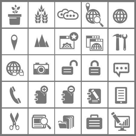 25 Modern Website   marketing icons,Gray version,vector Vector