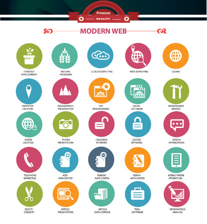 back link: Modern Website   marketing icons,Colorful version,vector