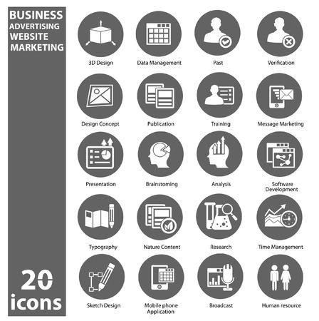 presencia: Negocios, Mercadeo Publicidad iconos, versi�n gris Vectores