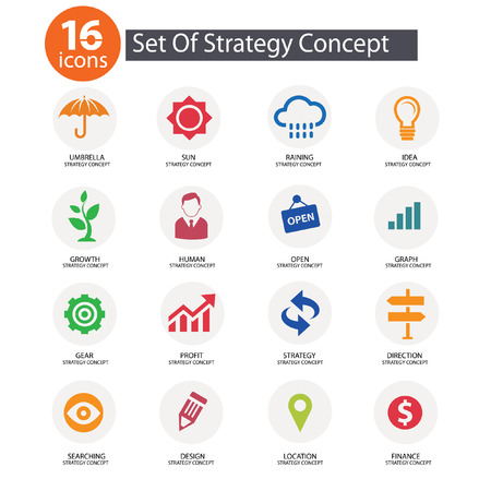 Strategy Concept icons,vector,Colorf ul version Vector