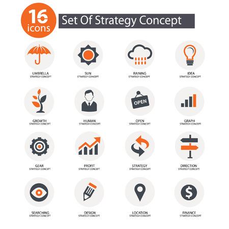 Strategy Concept icons,Orange version
