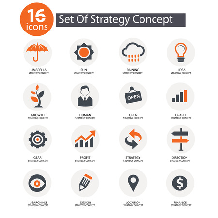 Strategy Concept icons,Orange version Vector