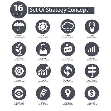 전략 개념 아이콘, 회색 버전