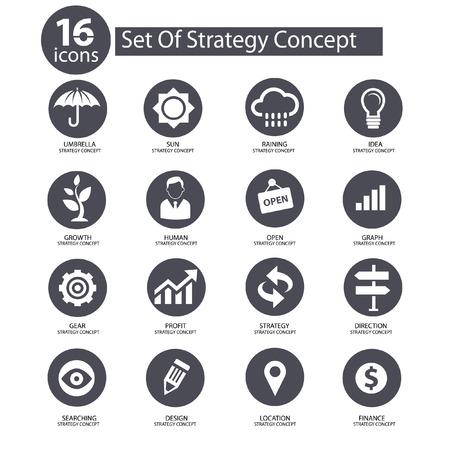 Strategie-Konzept Icons, graue Version Standard-Bild - 22740818