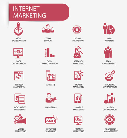social media marketing: Internet Marketing icons,Red version
