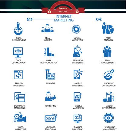 back link: Internet Marketing icons,Blue version