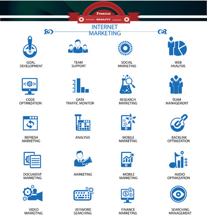 Internet Marketing icons,Blue version