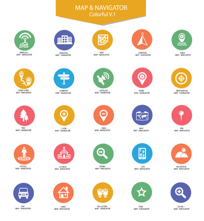 Navigator and map icons,Colorful version Vector