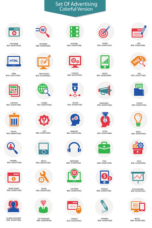 computer software: Set of Advertising icons,Colorful version,vector
