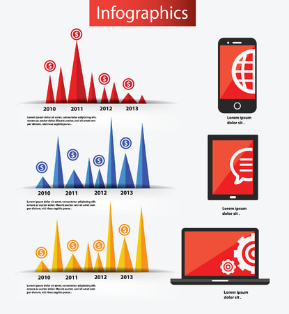 Mobile phone, tablet pc and laptop computer infographics design and element,vector Vector