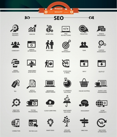 testimonial: SEO  Search Engine Optimization icons, Black version,vector
