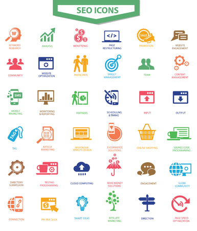 SEO 검색 엔진 최적화 아이콘, 다채로운 버전, 벡터 일러스트