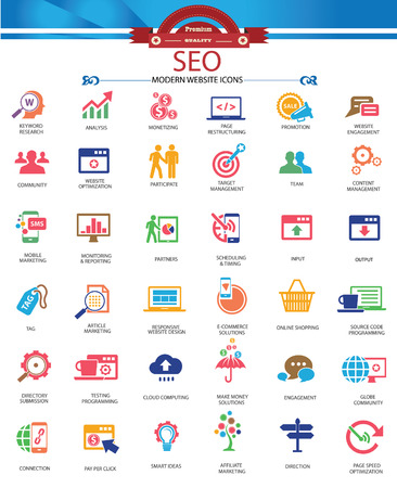 reducing: SEO  Search Engine Optimization icons, Colorful version,vector Illustration