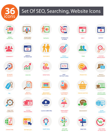 keywords link: SEO  Search Engine Optimization icons, Colorful version,vector Illustration