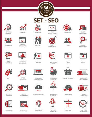 monetizing: Set Of SEO and Modern Website Icons,Red version,vector