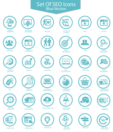Set of SEO icons,Blue version