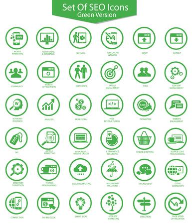 keywords bubble: Set Of SEO,Searching,Green version