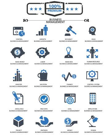 Business Management icons,Blue version,vector Illustration