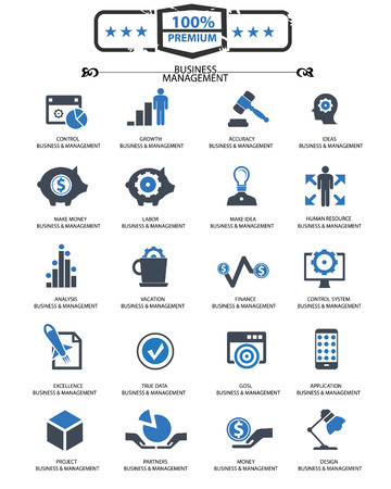 gestion documental: Iconos Business Management, versi�n azul, vector