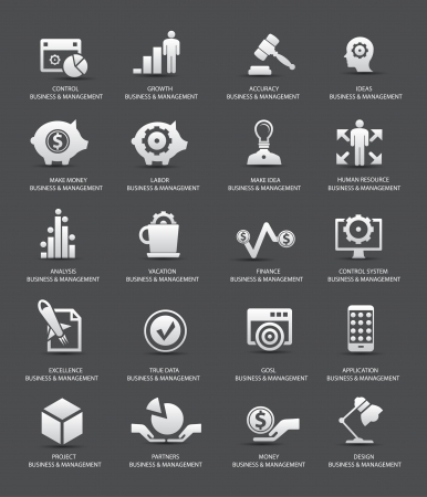 gestion empresarial: Iconos Business Management, versión gris, vector Vectores