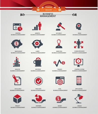 JOB INTERVIEW: Business Management icons,Red version,vector Illustration