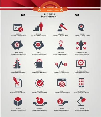 corporate hierarchy: Gestione delle icone Business, versione rossa, vettore
