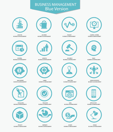 sign contract: Business Management icons,Blue version,vector Illustration