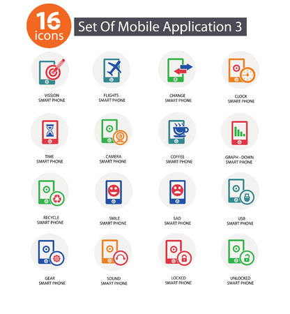 Mobile phone,Application,C olorful version 3,vector Vector