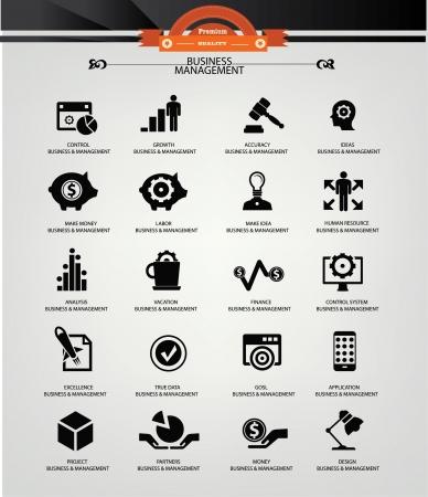 Business Management icons,Black version,vector