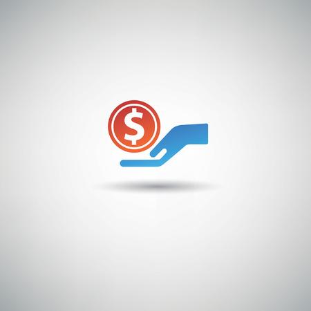 avarice: Dollar on hands,vector
