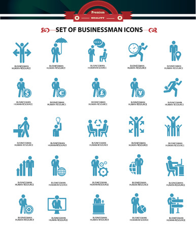 Set of Businessman icons,Blue version,vector Vector
