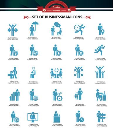 business meeting laptop: Set of Businessman icons,Blue version,vector Illustration