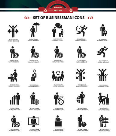 job interview: Set of Businessman icons,Black version,vector