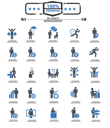Business Management icons,Blue version,vector 矢量图像